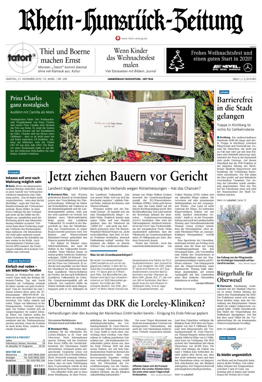 Rhein-Hunsrück-Zeitung vom Samstag, 21.12.2019