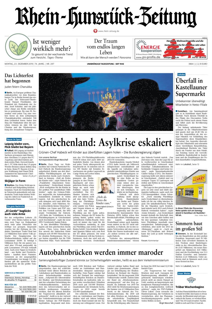 Rhein-Hunsrück-Zeitung vom Montag, 23.12.2019