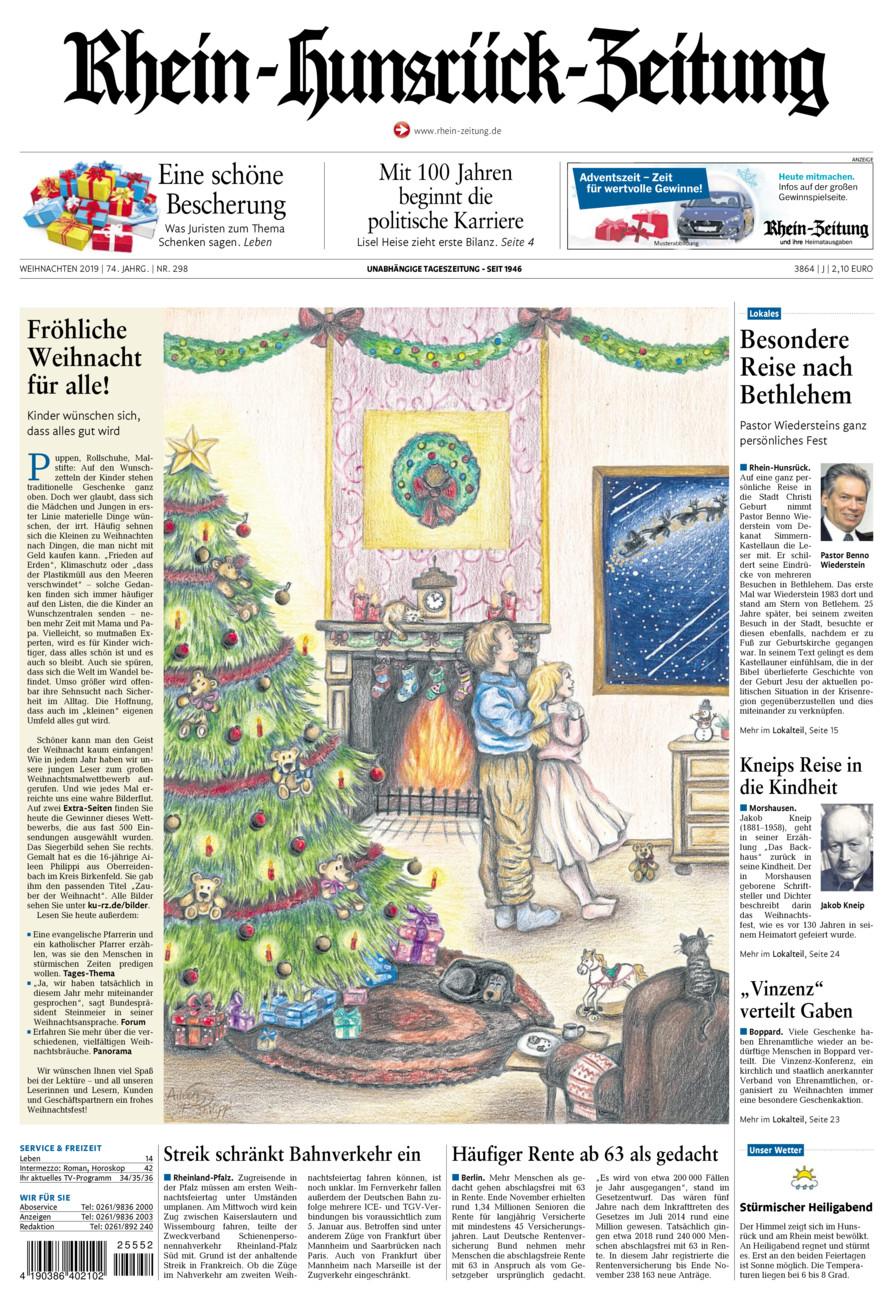 Rhein-Hunsrück-Zeitung vom Dienstag, 24.12.2019