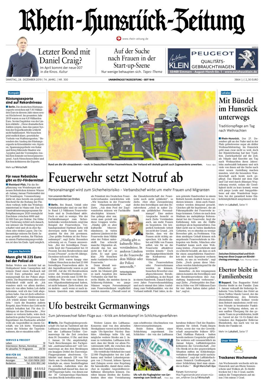 Rhein-Hunsrück-Zeitung vom Samstag, 28.12.2019