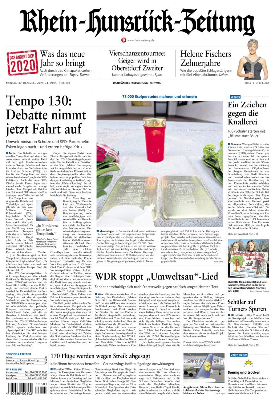 Rhein-Hunsrück-Zeitung vom Montag, 30.12.2019