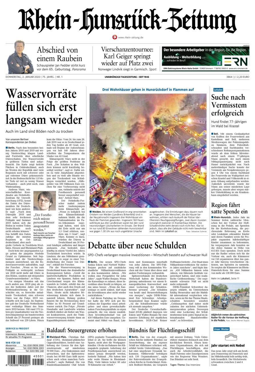 Rhein-Hunsrück-Zeitung vom Donnerstag, 02.01.2020