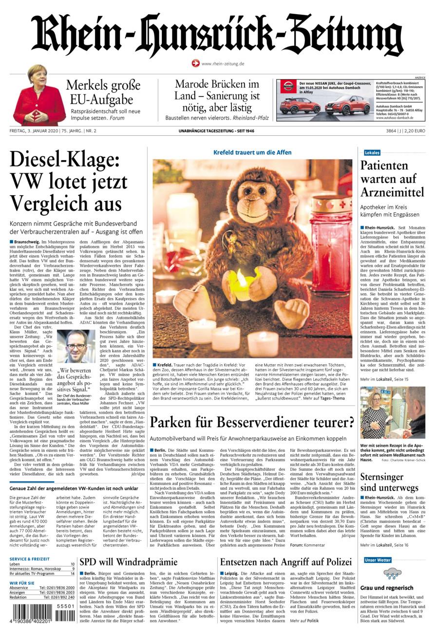 Rhein-Hunsrück-Zeitung vom Freitag, 03.01.2020