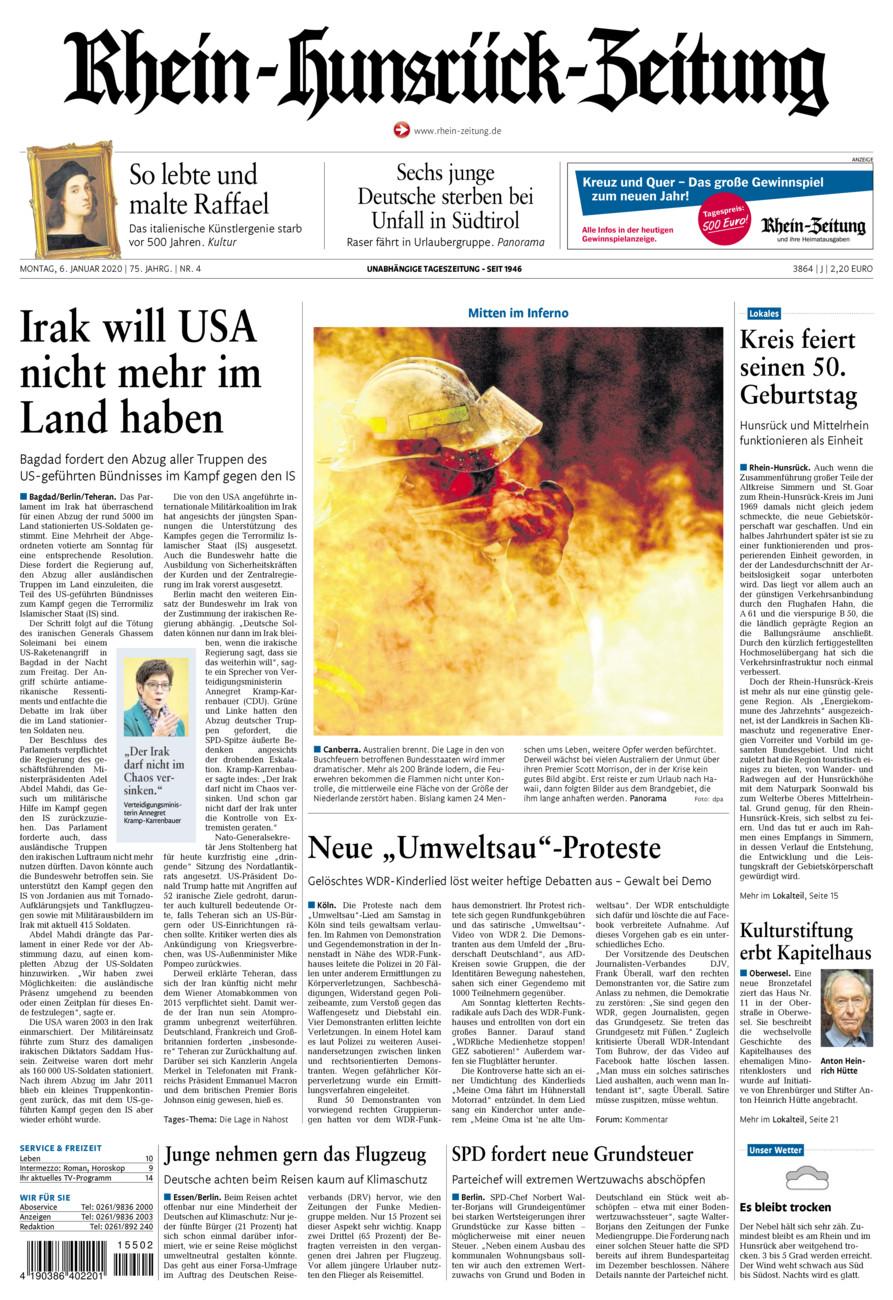 Rhein-Hunsrück-Zeitung vom Montag, 06.01.2020