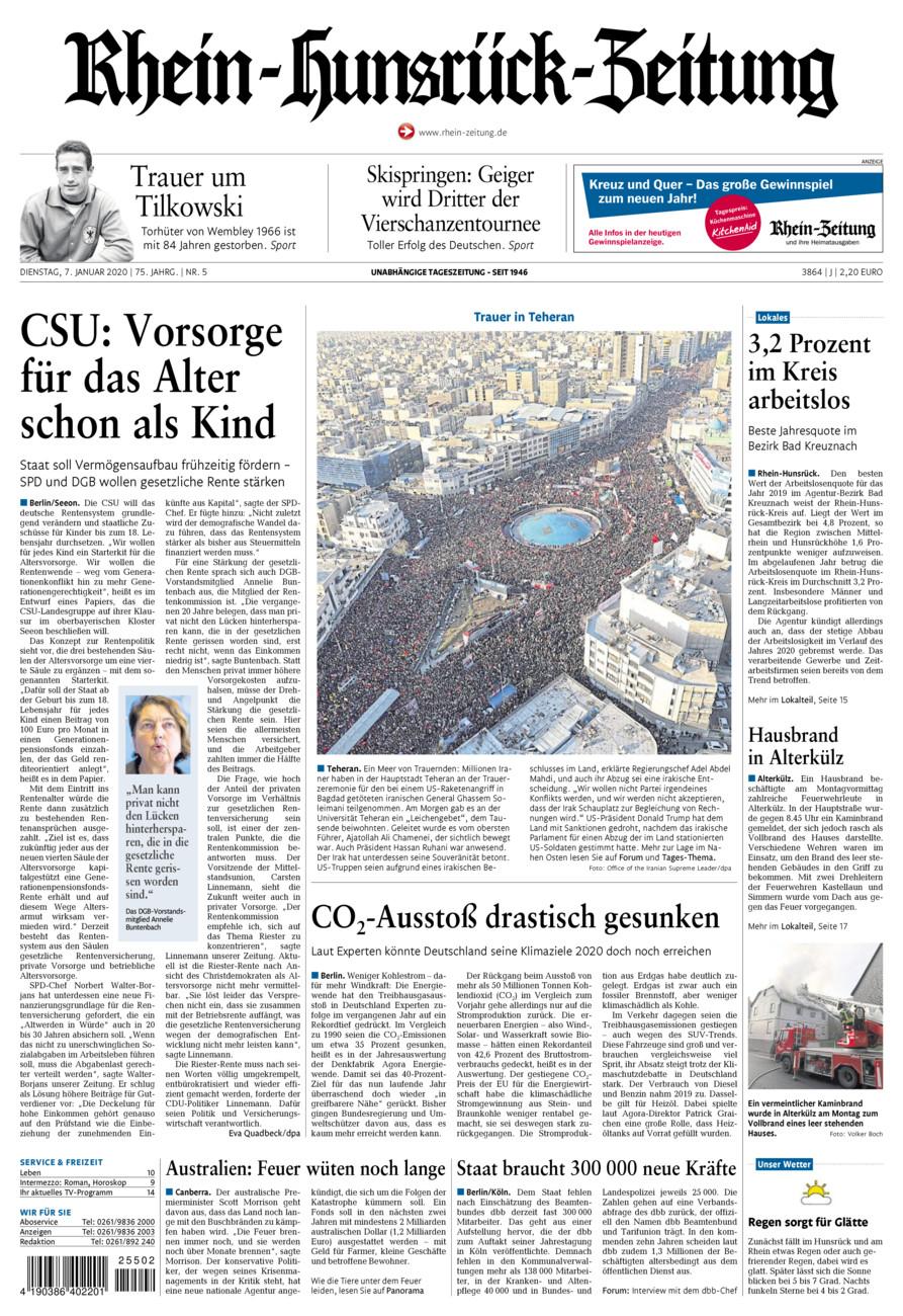 Rhein-Hunsrück-Zeitung vom Dienstag, 07.01.2020