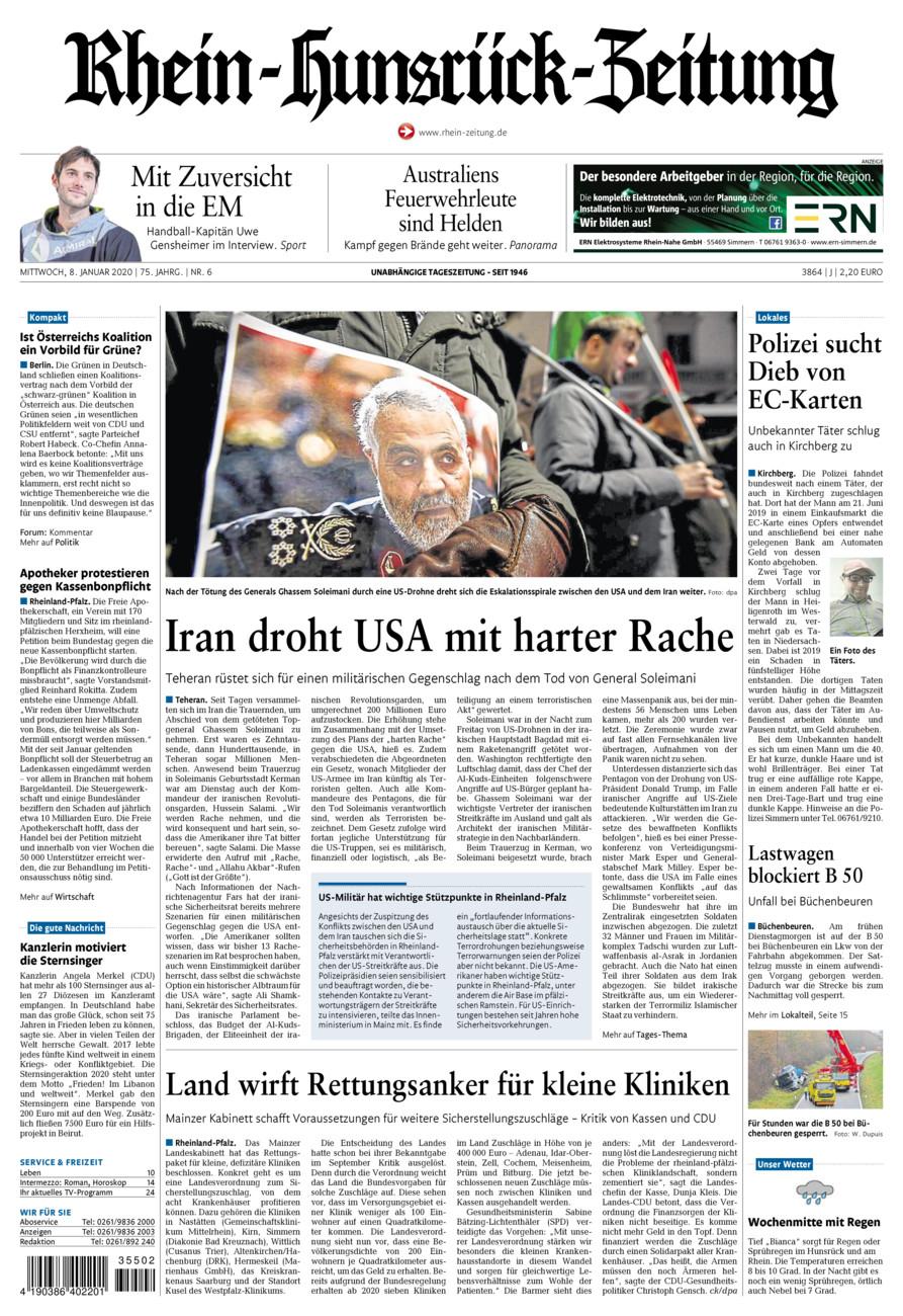 Rhein-Hunsrück-Zeitung vom Mittwoch, 08.01.2020