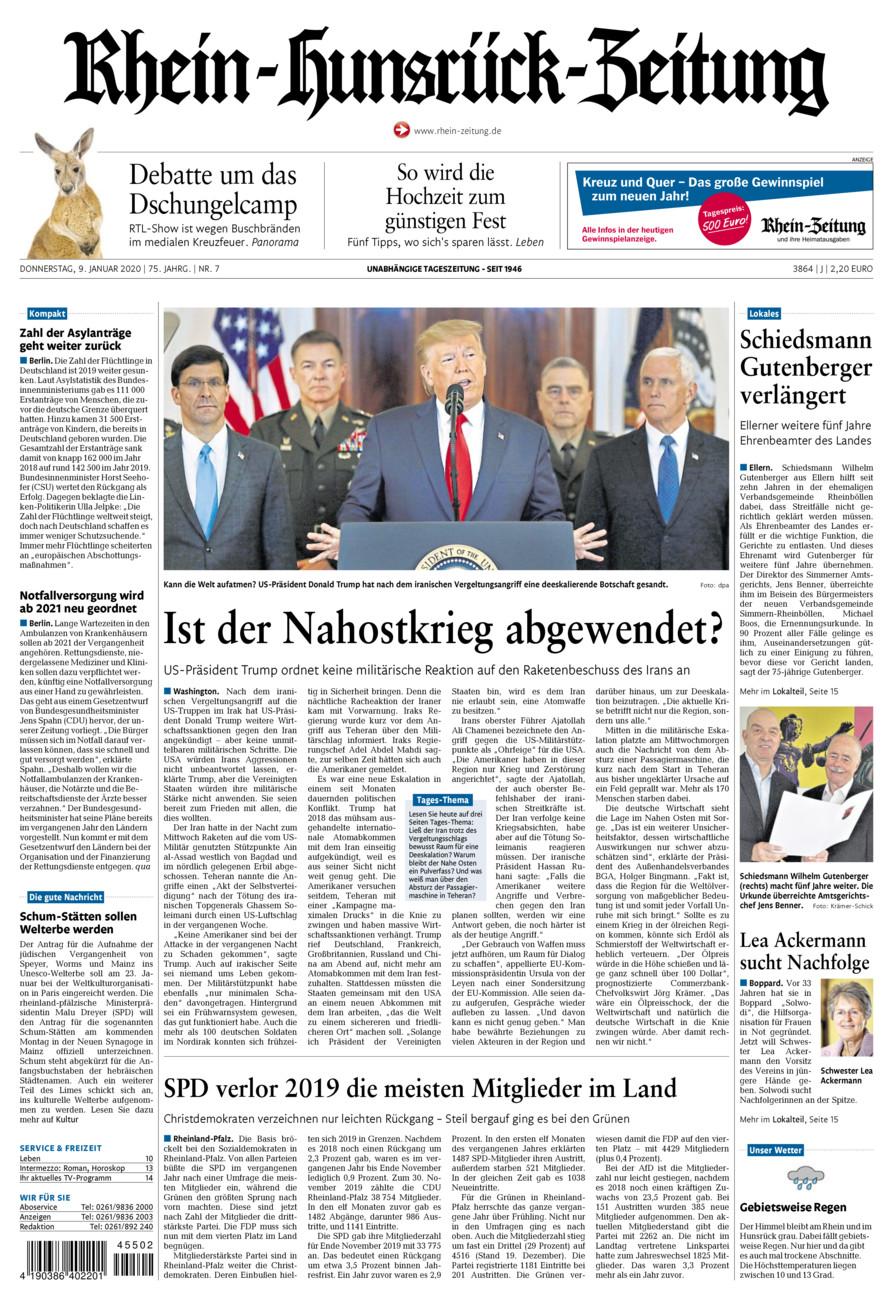 Rhein-Hunsrück-Zeitung vom Donnerstag, 09.01.2020