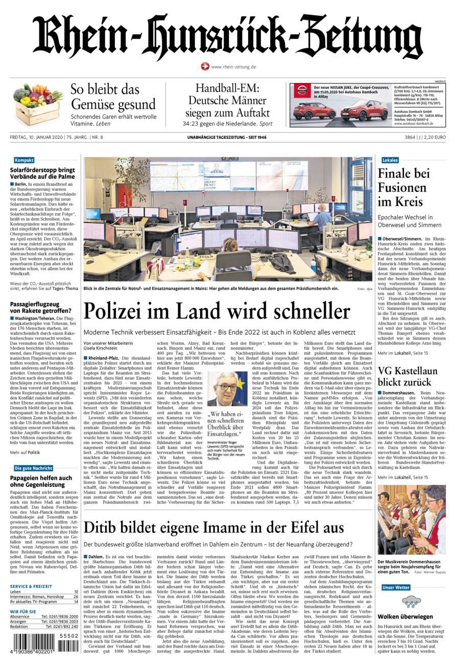 Rhein-Hunsrück-Zeitung vom Freitag, 10.01.2020