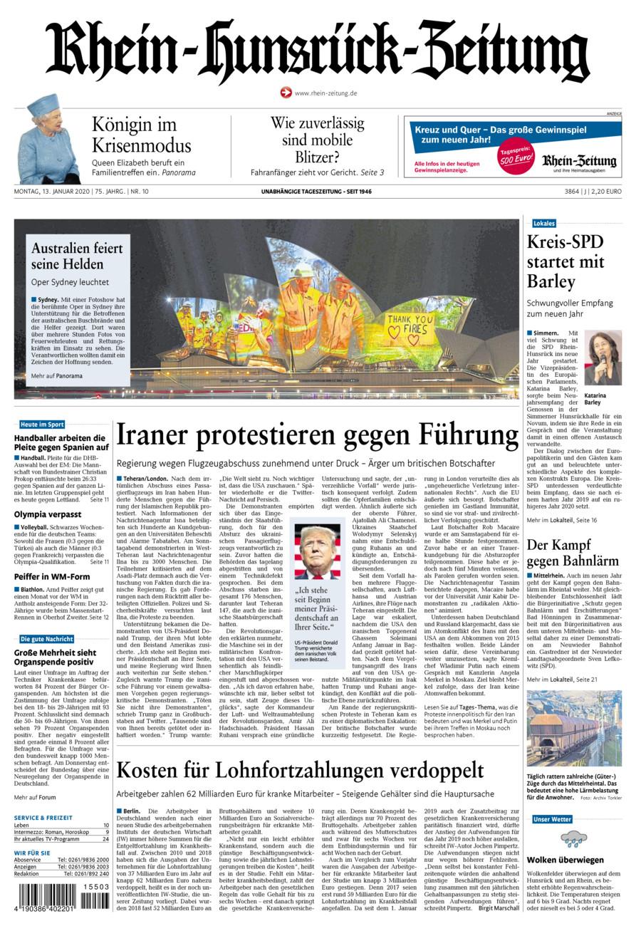 Rhein-Hunsrück-Zeitung vom Montag, 13.01.2020