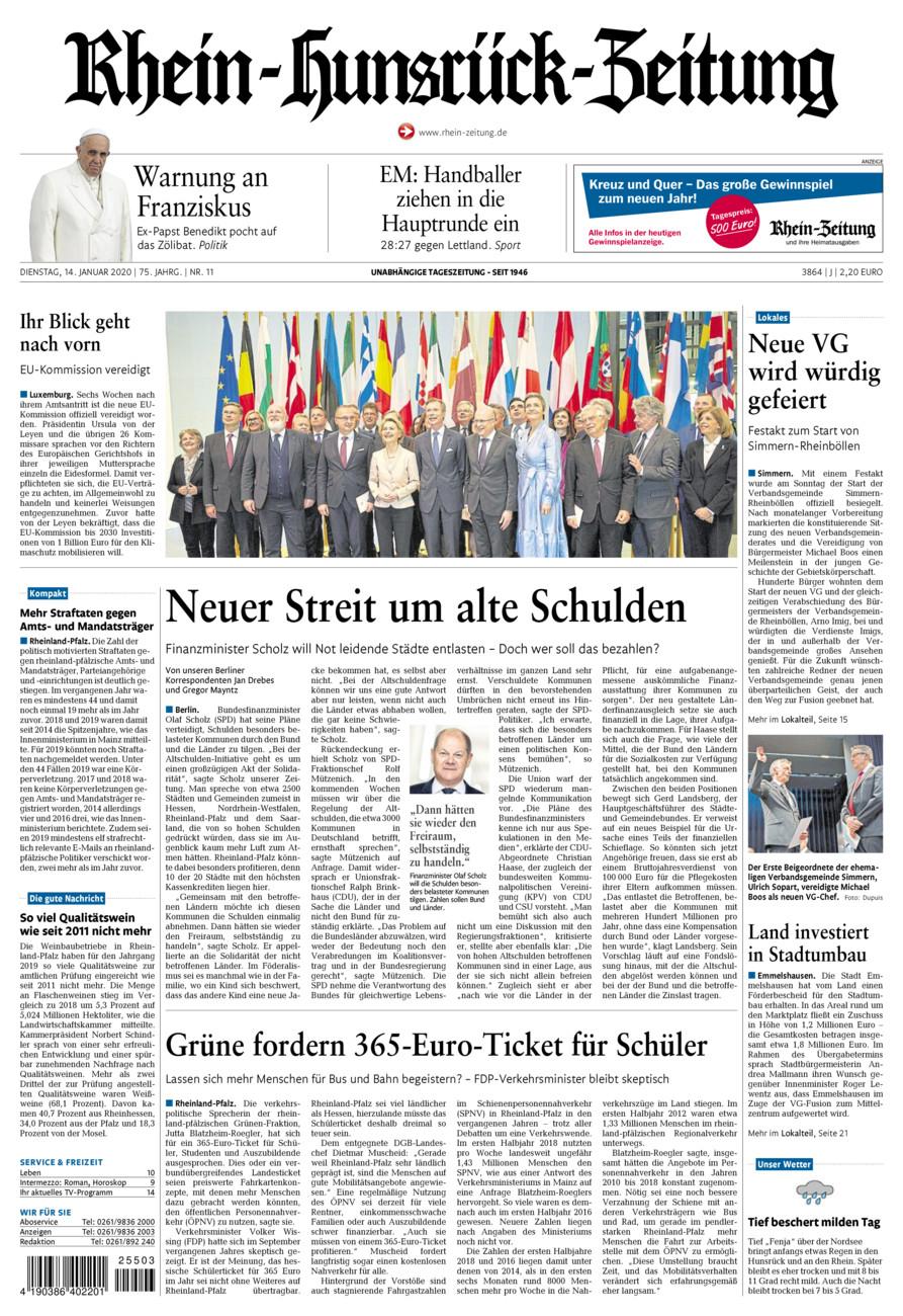 Rhein-Hunsrück-Zeitung vom Dienstag, 14.01.2020