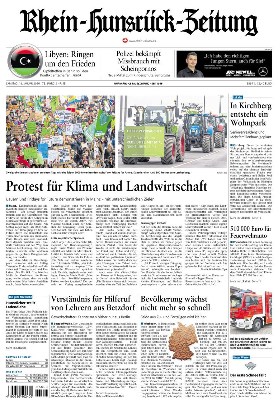 Rhein-Hunsrück-Zeitung vom Samstag, 18.01.2020