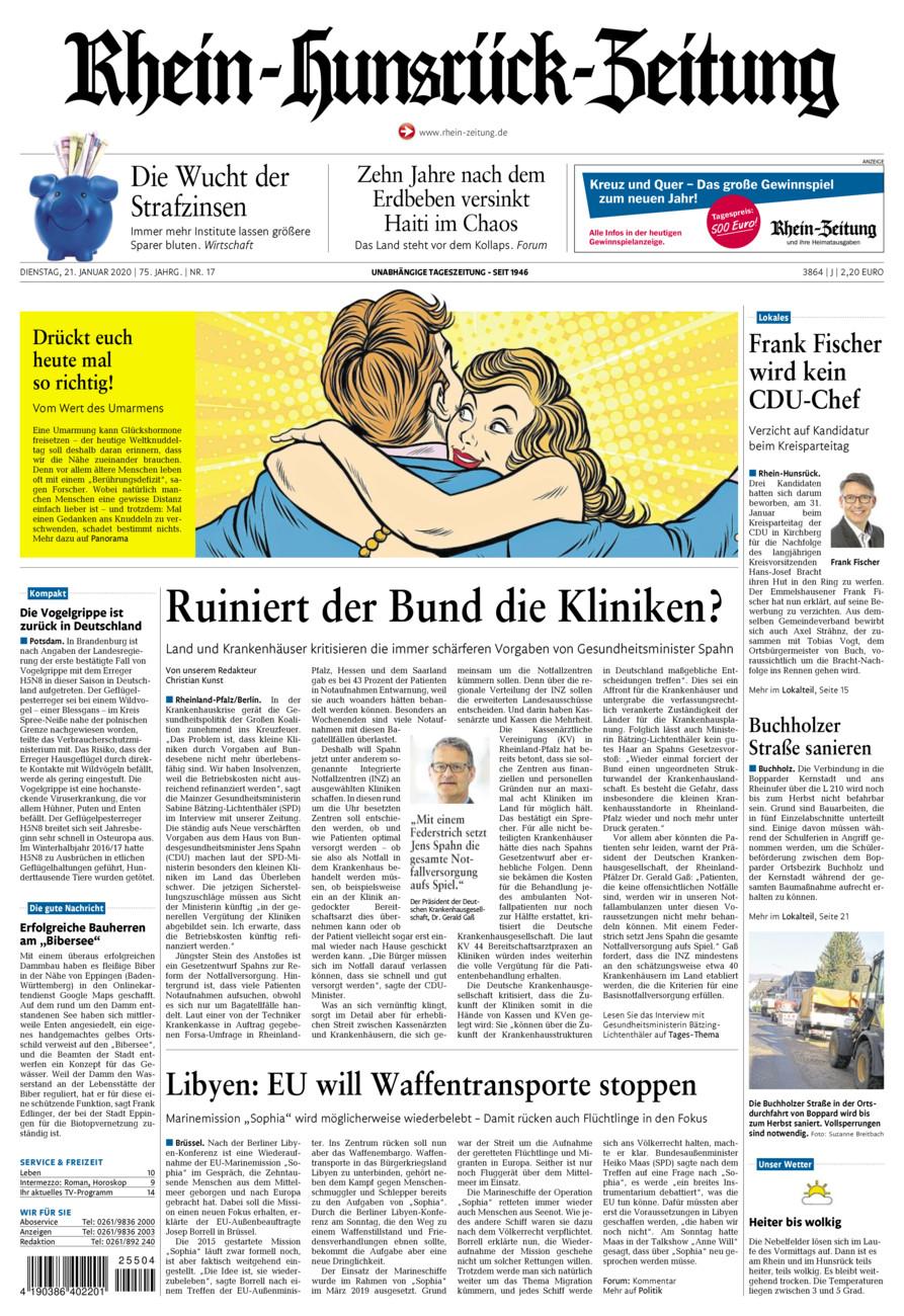 Rhein-Hunsrück-Zeitung vom Dienstag, 21.01.2020