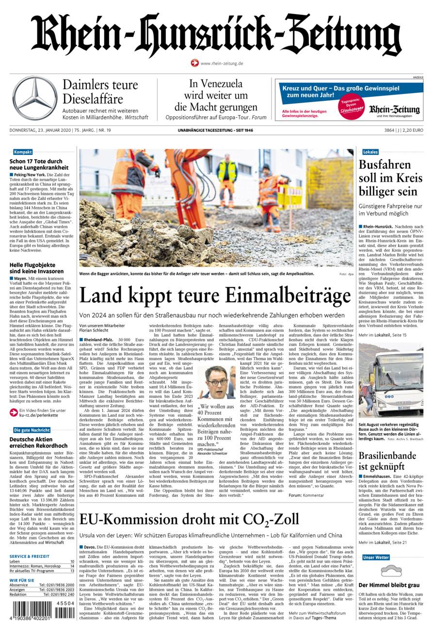 Rhein-Hunsrück-Zeitung vom Donnerstag, 23.01.2020
