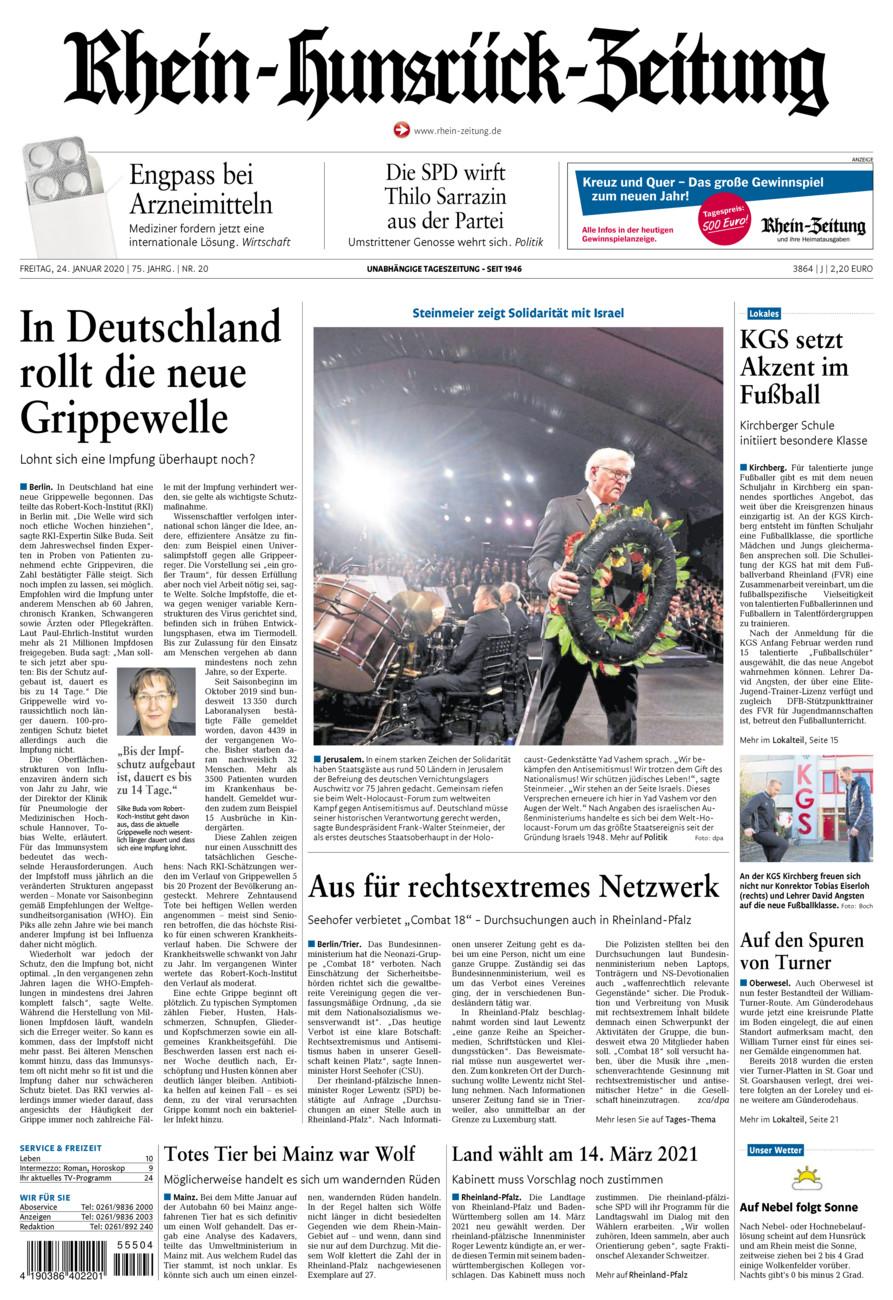 Rhein-Hunsrück-Zeitung vom Freitag, 24.01.2020