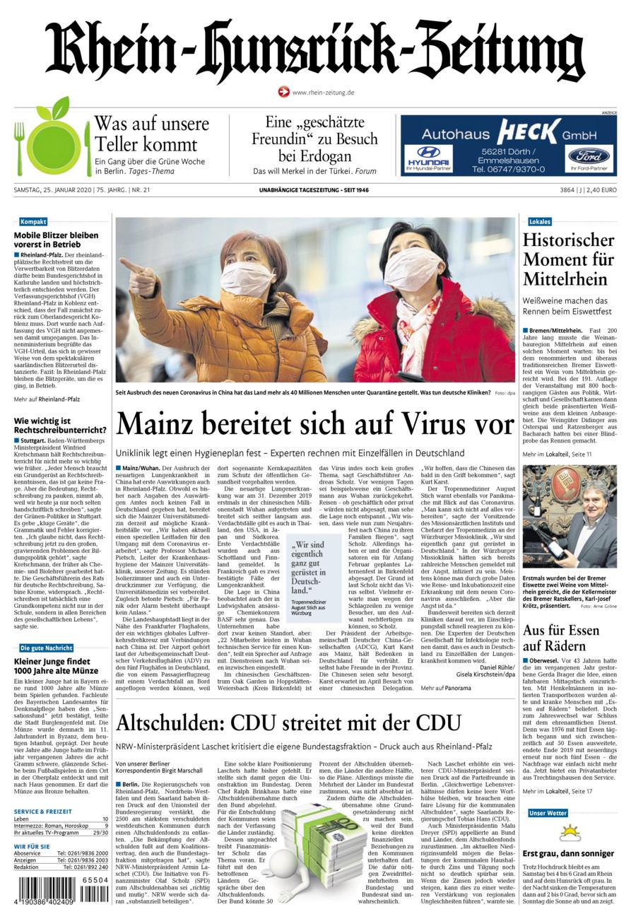 Rhein-Hunsrück-Zeitung vom Samstag, 25.01.2020