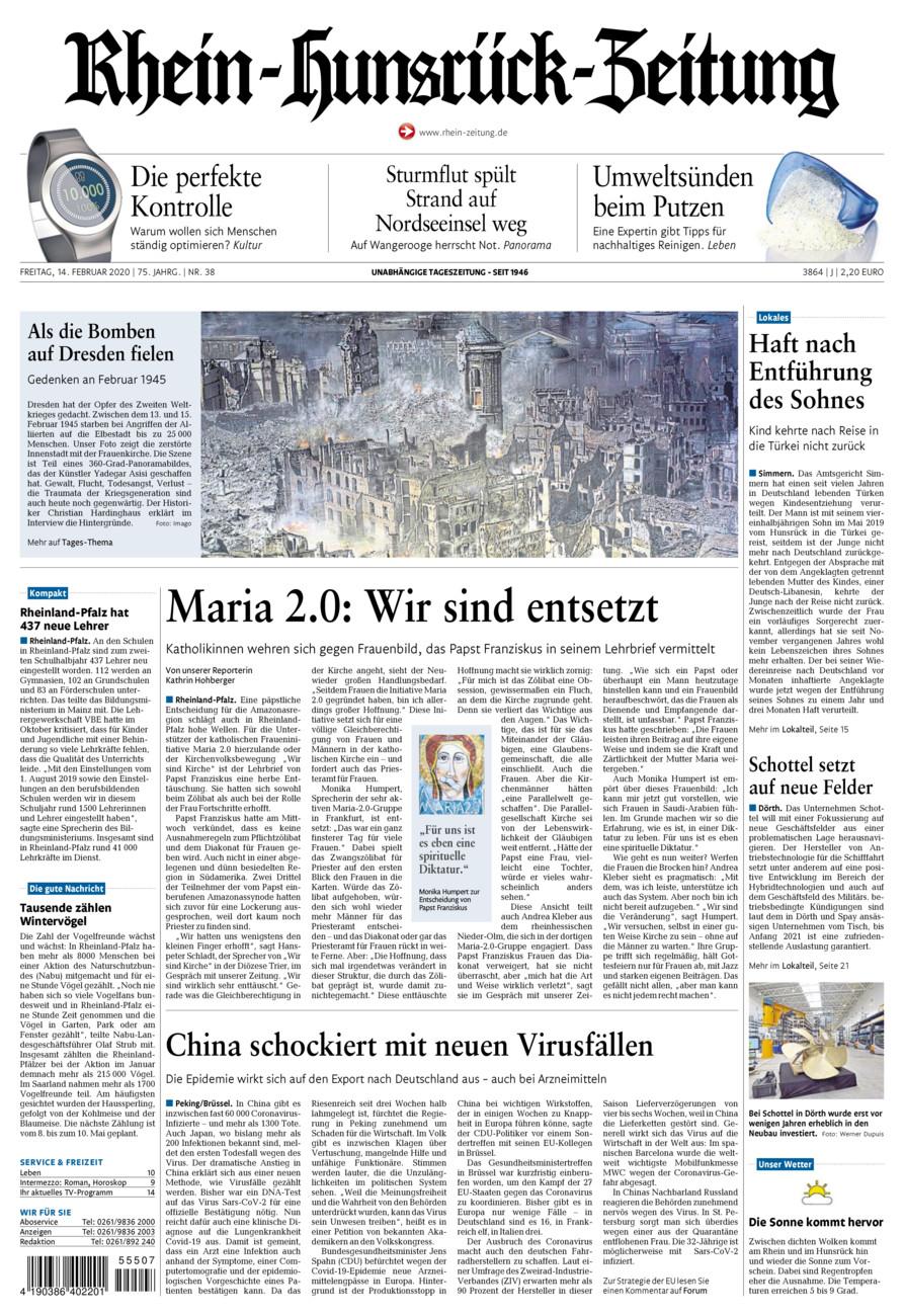 Rhein-Hunsrück-Zeitung vom Freitag, 14.02.2020