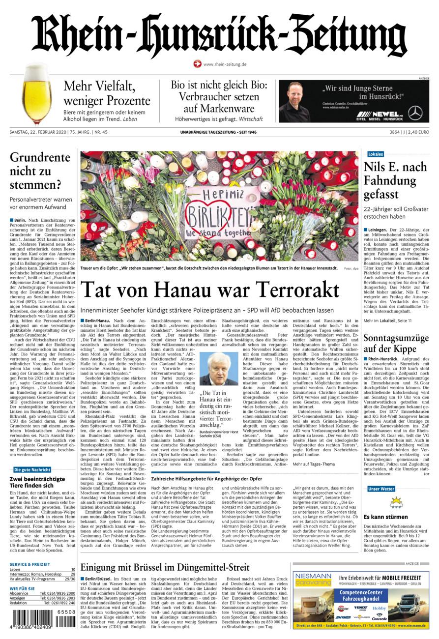 Rhein-Hunsrück-Zeitung vom Samstag, 22.02.2020