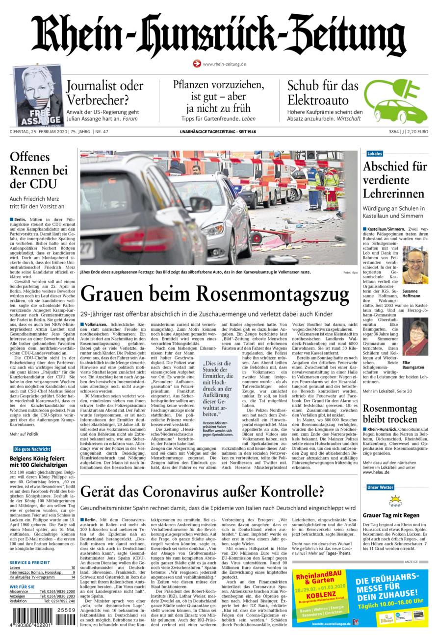 Rhein-Hunsrück-Zeitung vom Dienstag, 25.02.2020