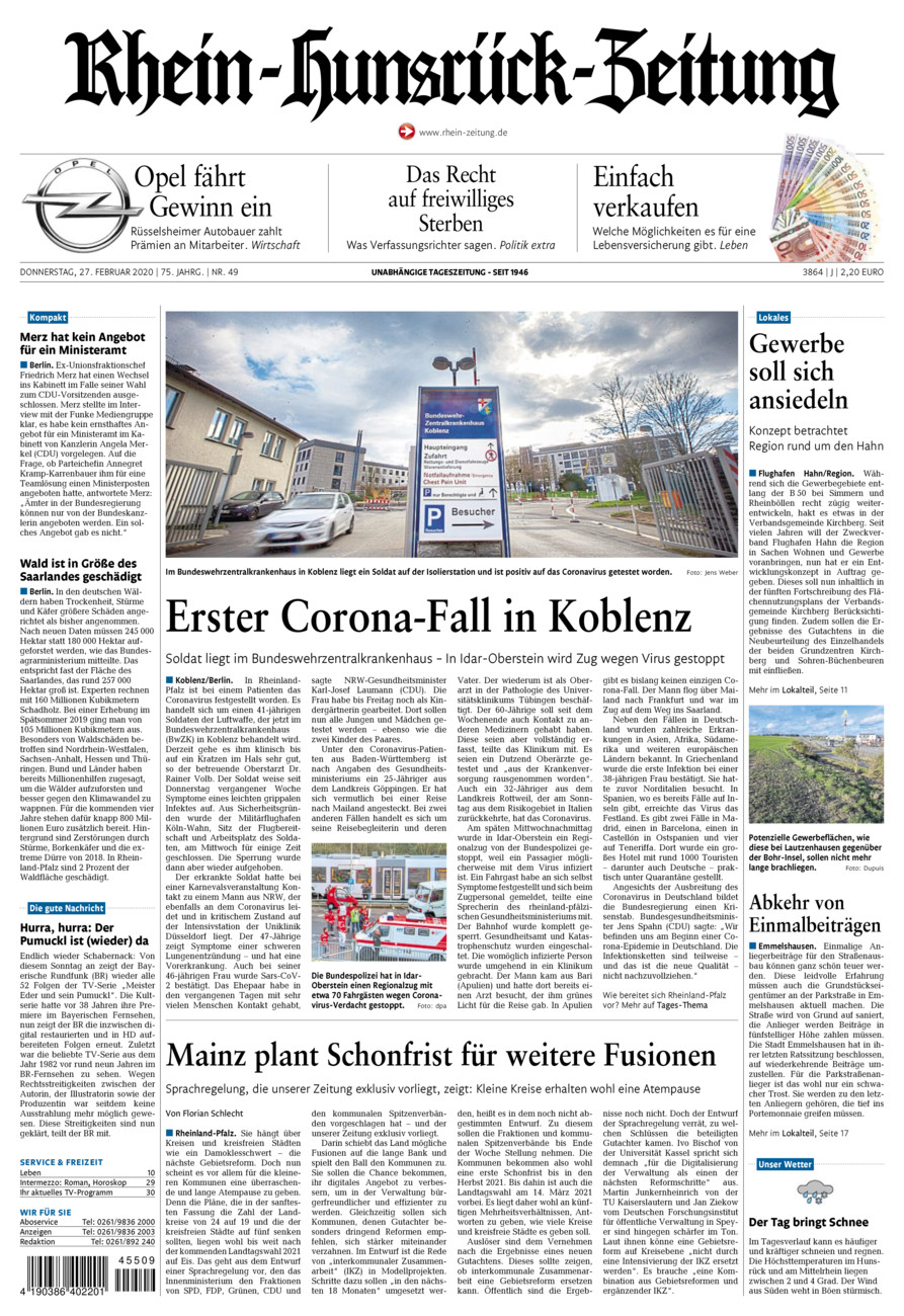 Rhein-Hunsrück-Zeitung vom Donnerstag, 27.02.2020