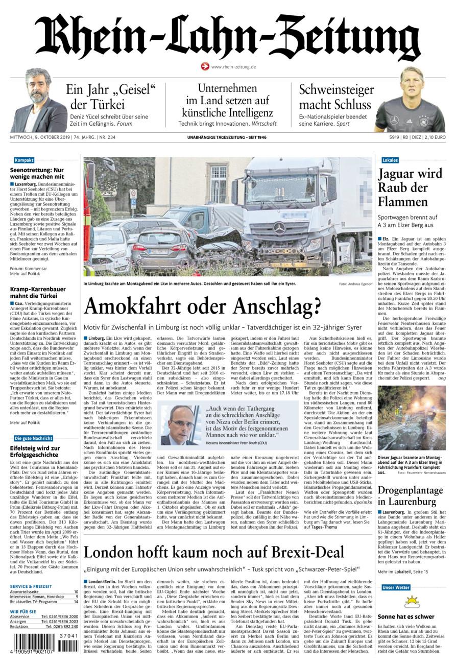 Rhein-Lahn-Zeitung Diez vom Mittwoch, 09.10.2019
