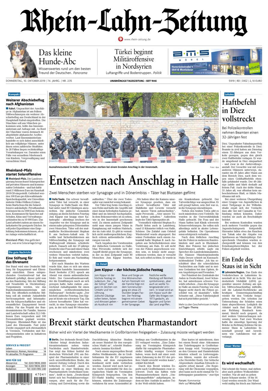 Rhein-Lahn-Zeitung Diez vom Donnerstag, 10.10.2019
