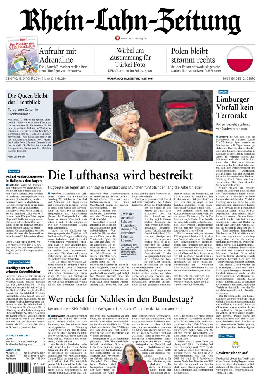 Rhein-Lahn-Zeitung Diez vom Dienstag, 15.10.2019