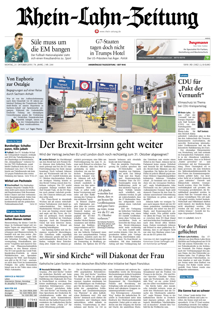 Rhein-Lahn-Zeitung Diez vom Montag, 21.10.2019