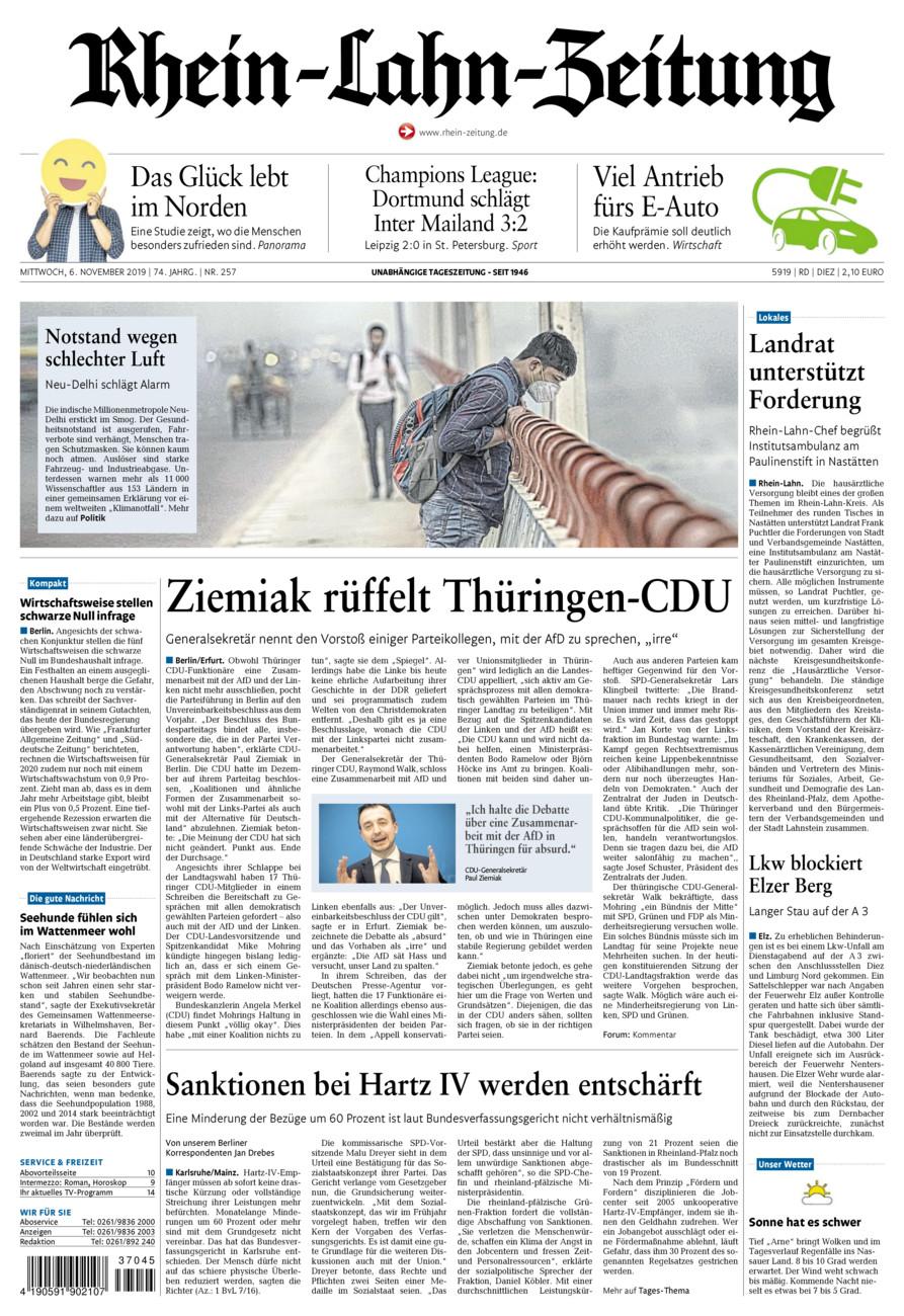 Rhein-Lahn-Zeitung Diez vom Mittwoch, 06.11.2019