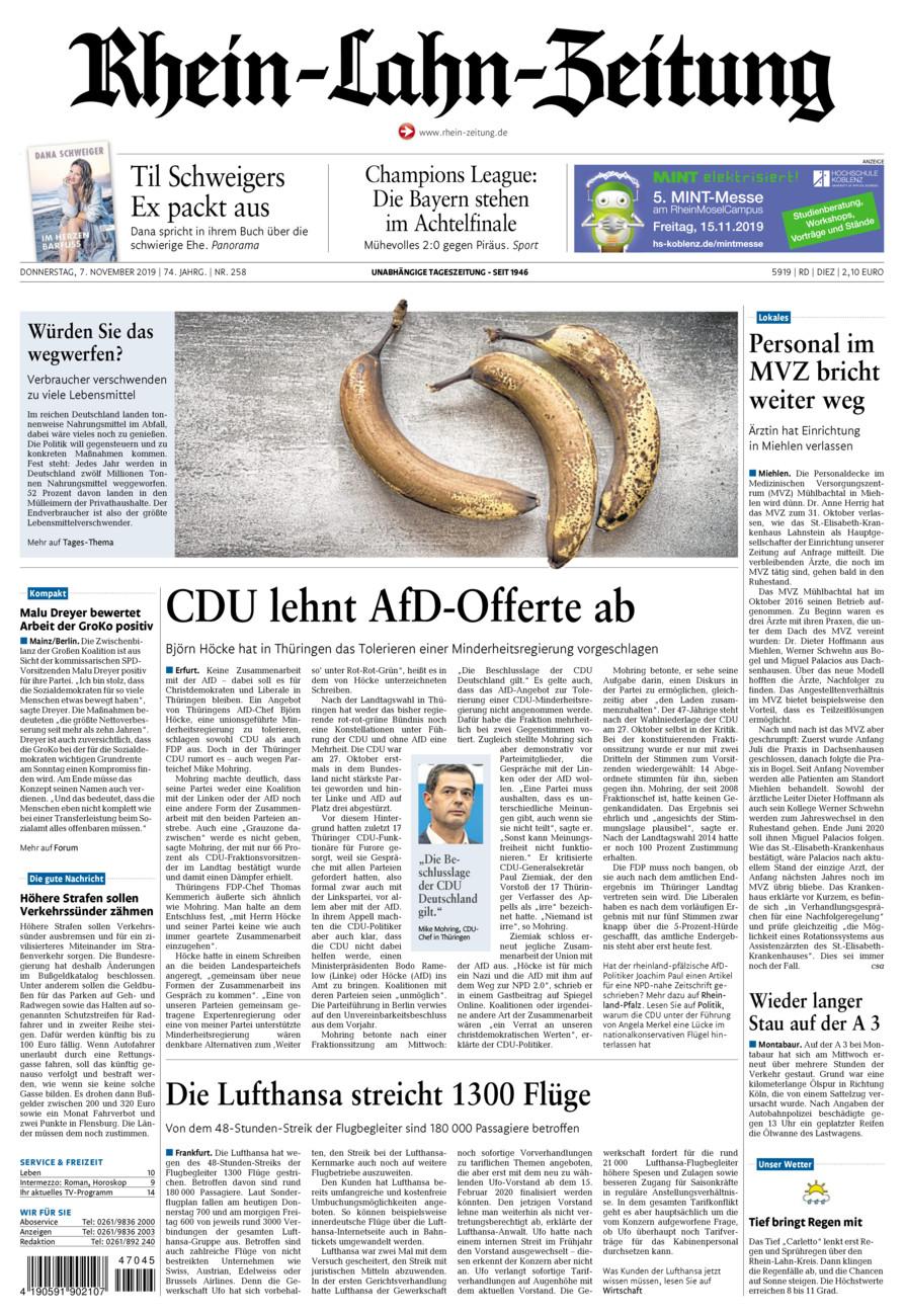 Rhein-Lahn-Zeitung Diez vom Donnerstag, 07.11.2019