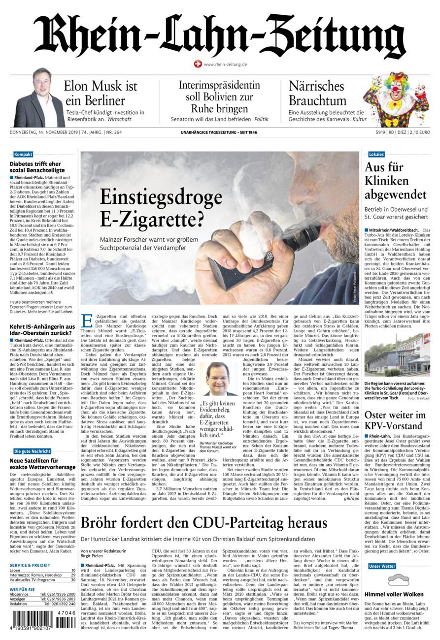Rhein-Lahn-Zeitung Diez vom Donnerstag, 14.11.2019