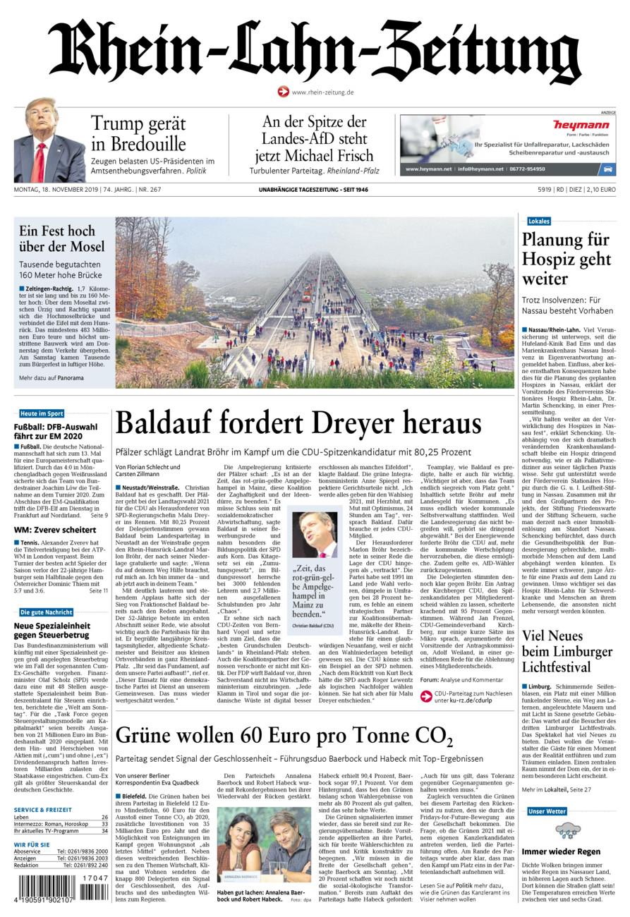 Rhein-Lahn-Zeitung Diez vom Montag, 18.11.2019