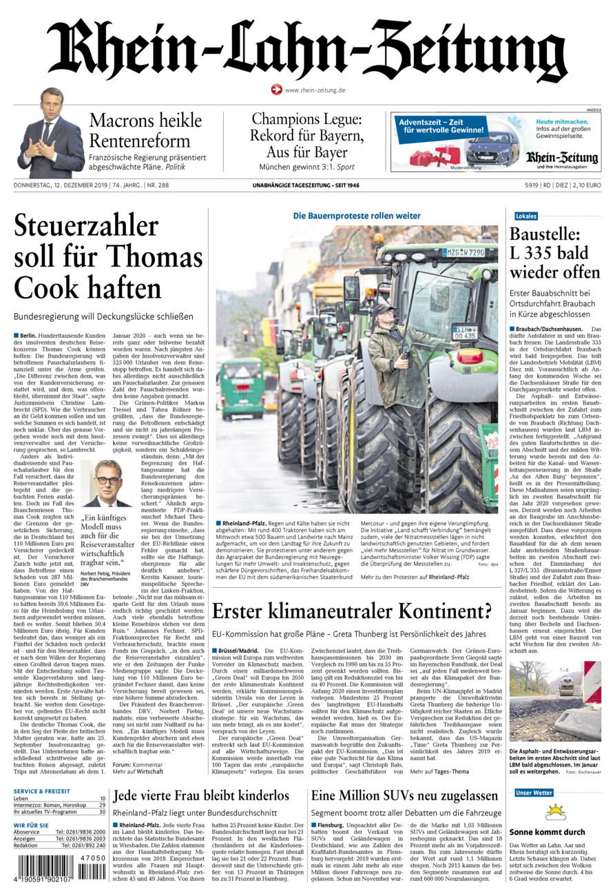 Rhein-Lahn-Zeitung Diez vom Donnerstag, 12.12.2019