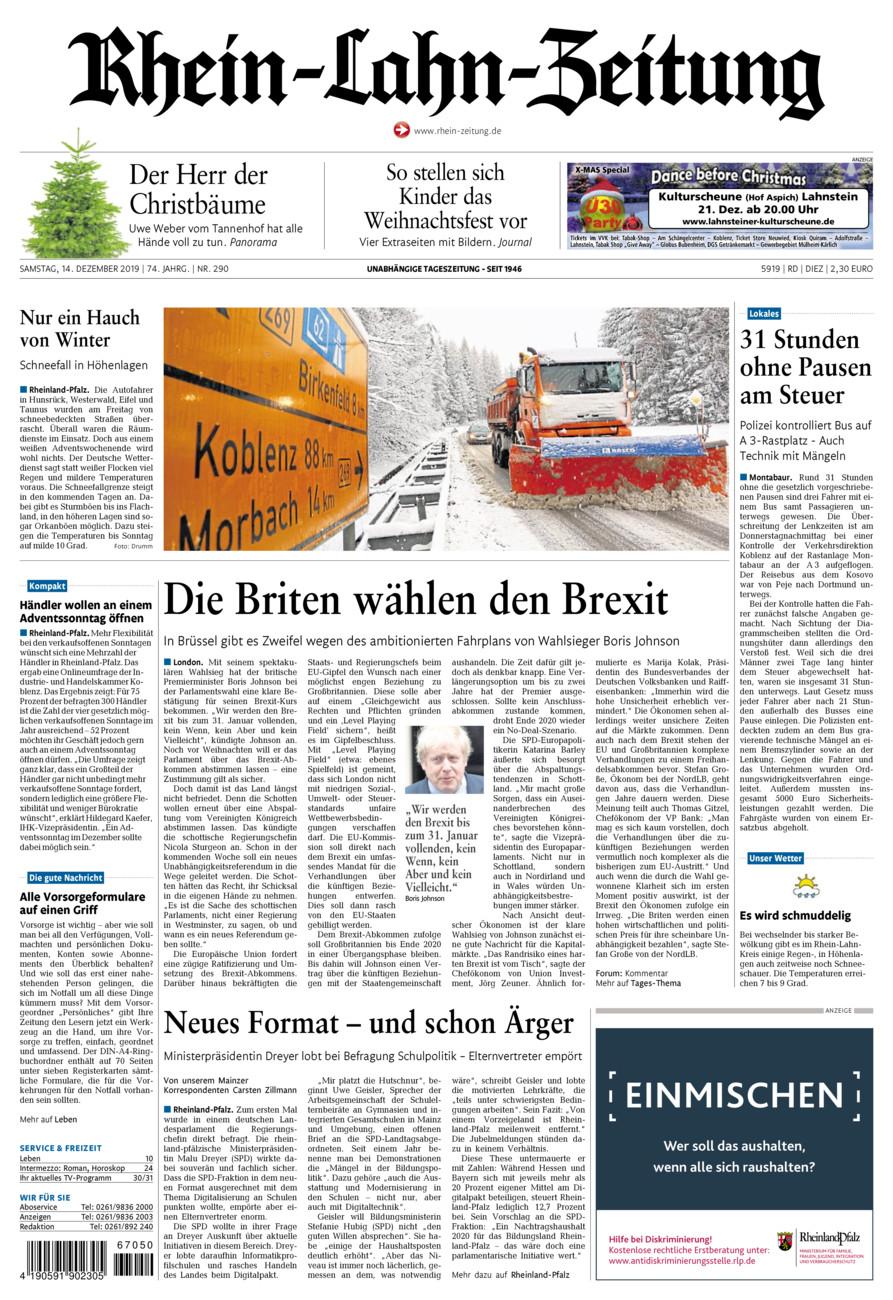 Rhein-Lahn-Zeitung Diez vom Samstag, 14.12.2019