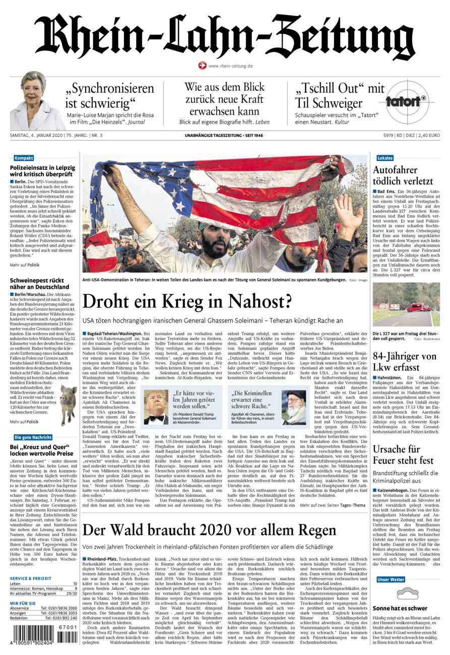 Rhein-Lahn-Zeitung Diez vom Samstag, 04.01.2020