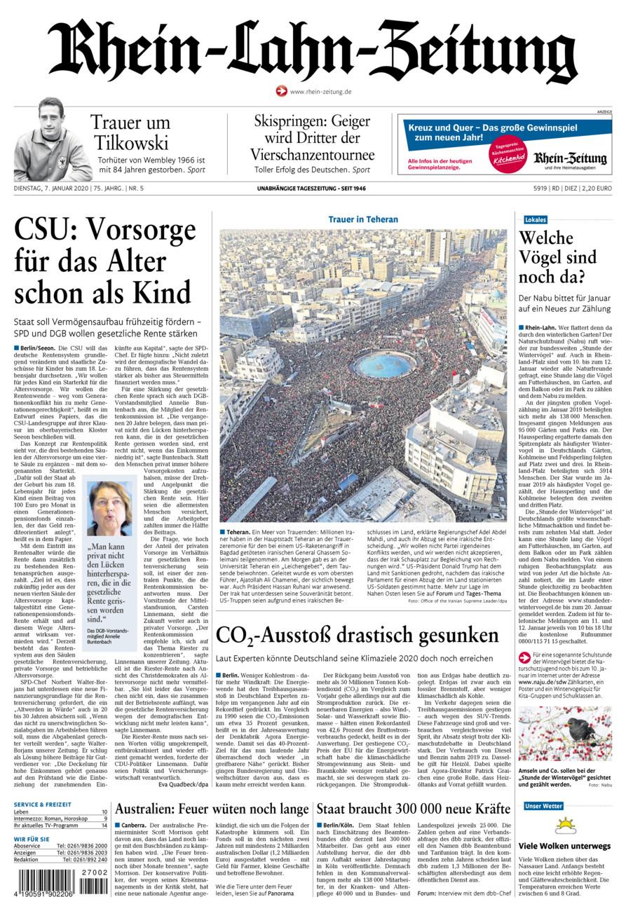 Rhein-Lahn-Zeitung Diez vom Dienstag, 07.01.2020