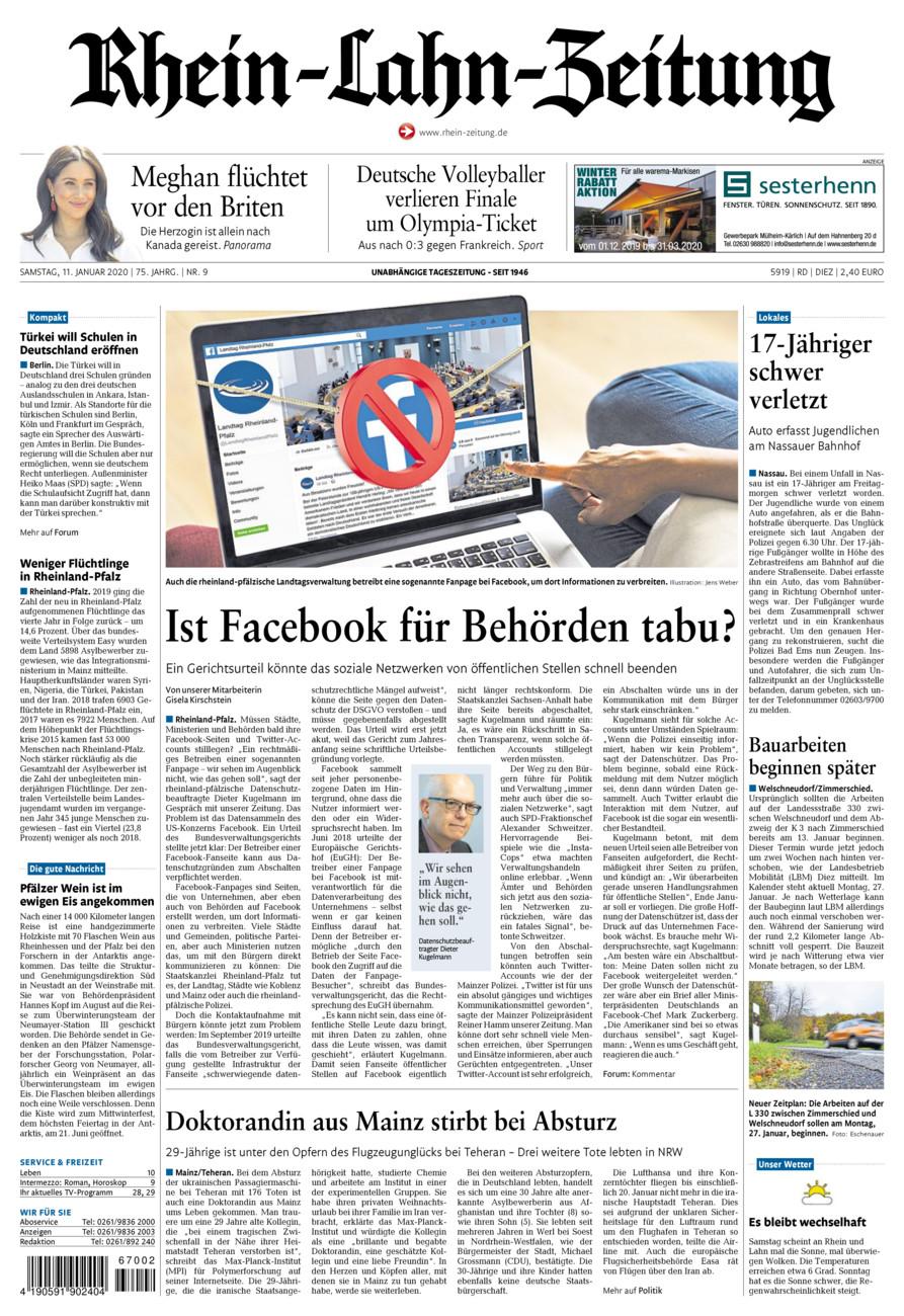 Rhein-Lahn-Zeitung Diez vom Samstag, 11.01.2020