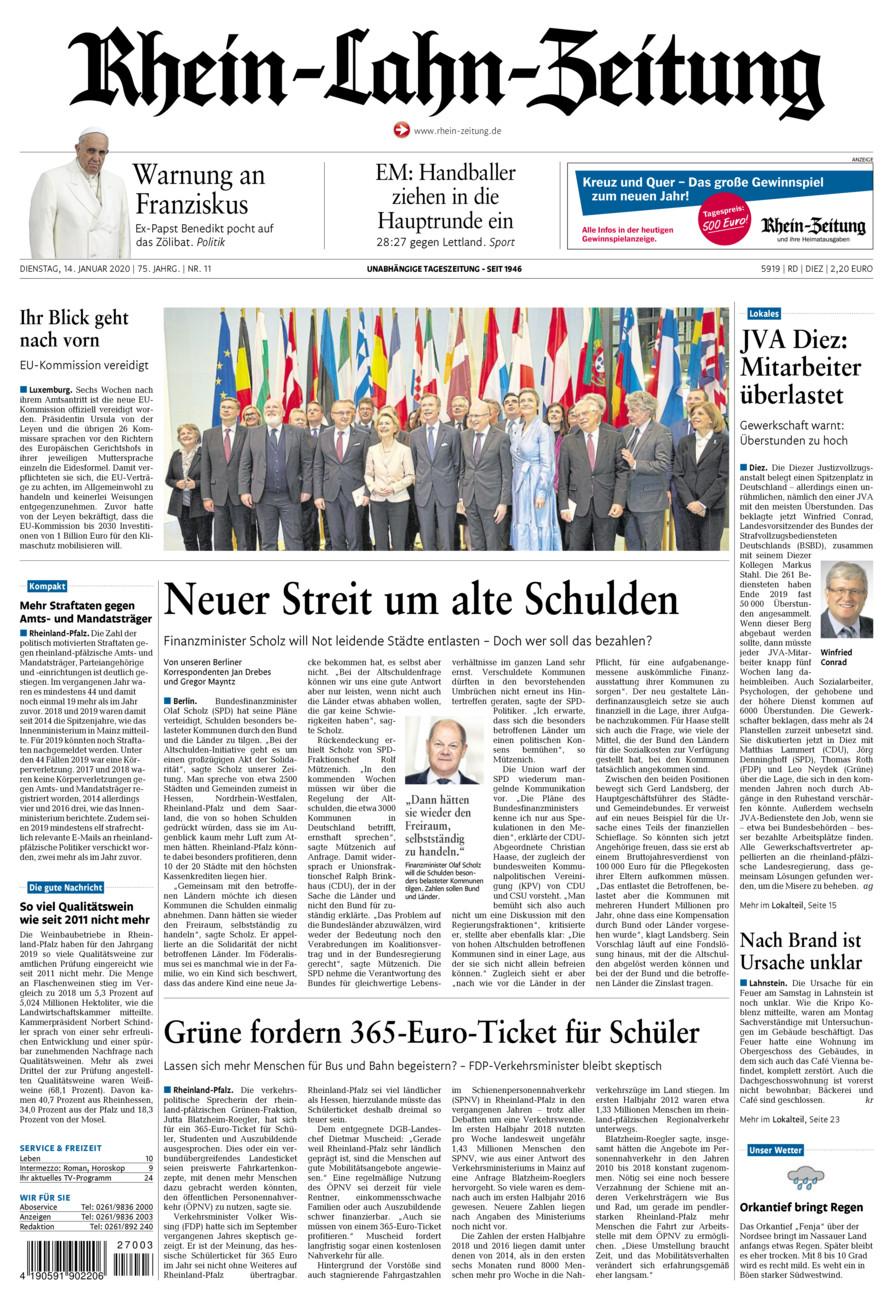 Rhein-Lahn-Zeitung Diez vom Dienstag, 14.01.2020