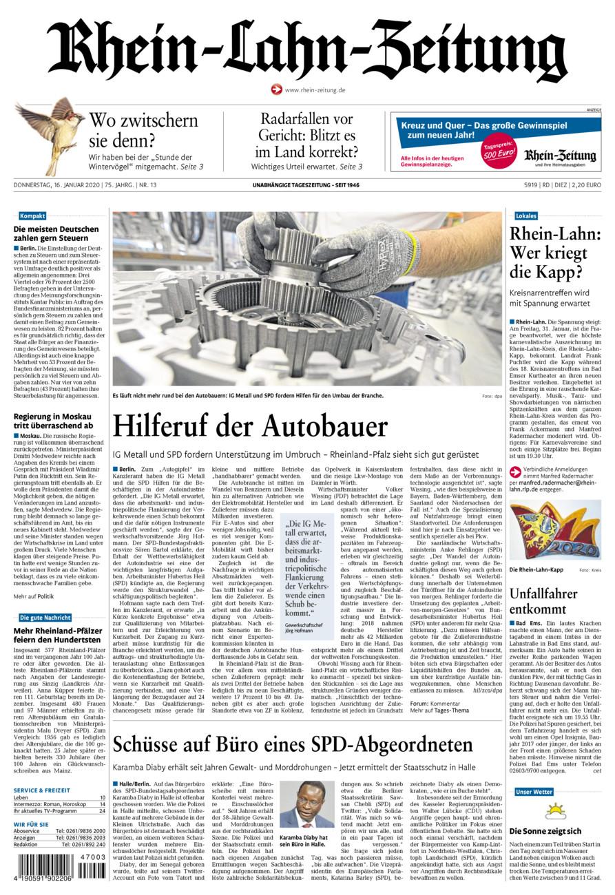 Rhein-Lahn-Zeitung Diez vom Donnerstag, 16.01.2020