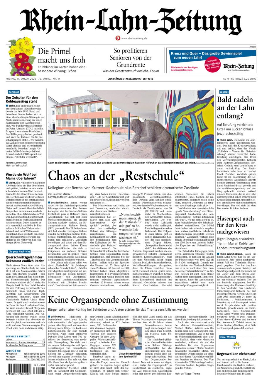 Rhein-Lahn-Zeitung Diez vom Freitag, 17.01.2020