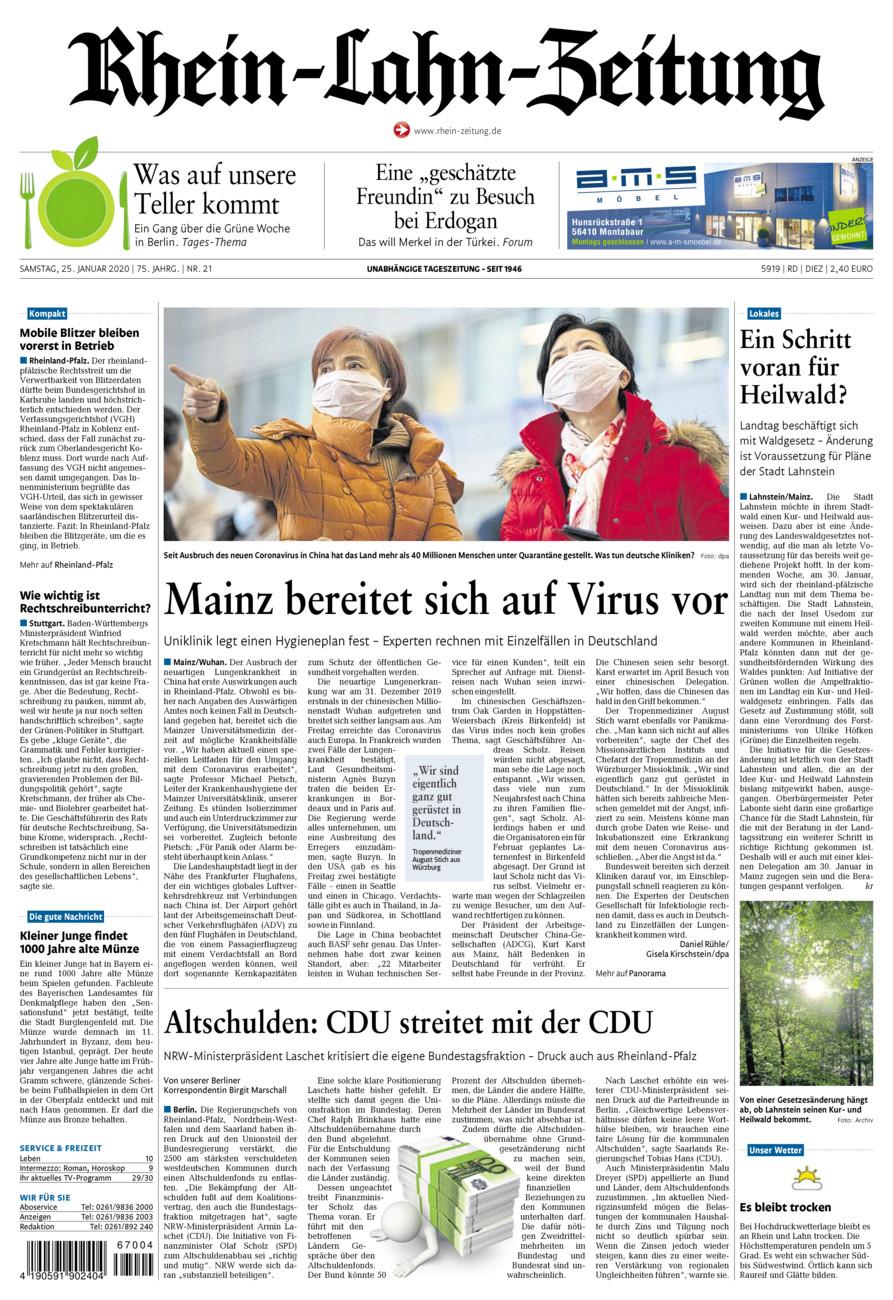 Rhein-Lahn-Zeitung Diez vom Samstag, 25.01.2020