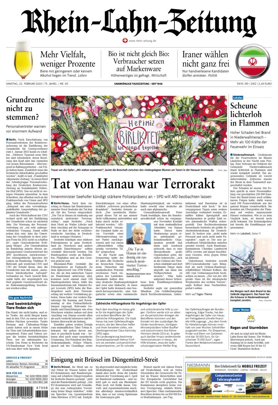 Rhein-Lahn-Zeitung Diez vom Samstag, 22.02.2020
