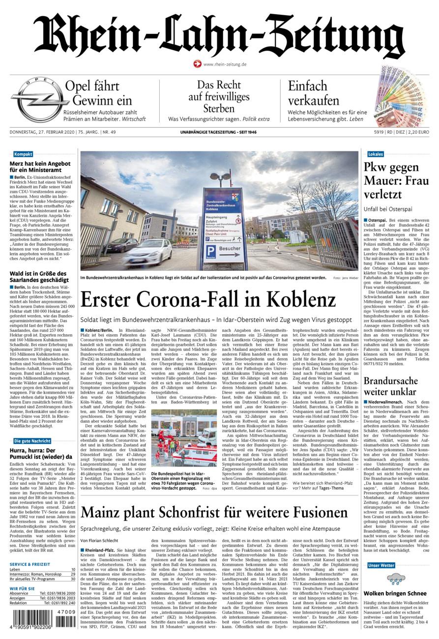 Rhein-Lahn-Zeitung Diez vom Donnerstag, 27.02.2020
