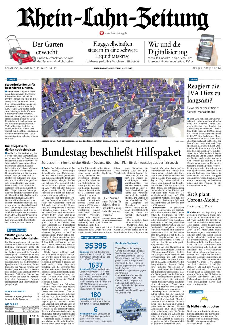 Rhein-Lahn-Zeitung Diez vom Donnerstag, 26.03.2020