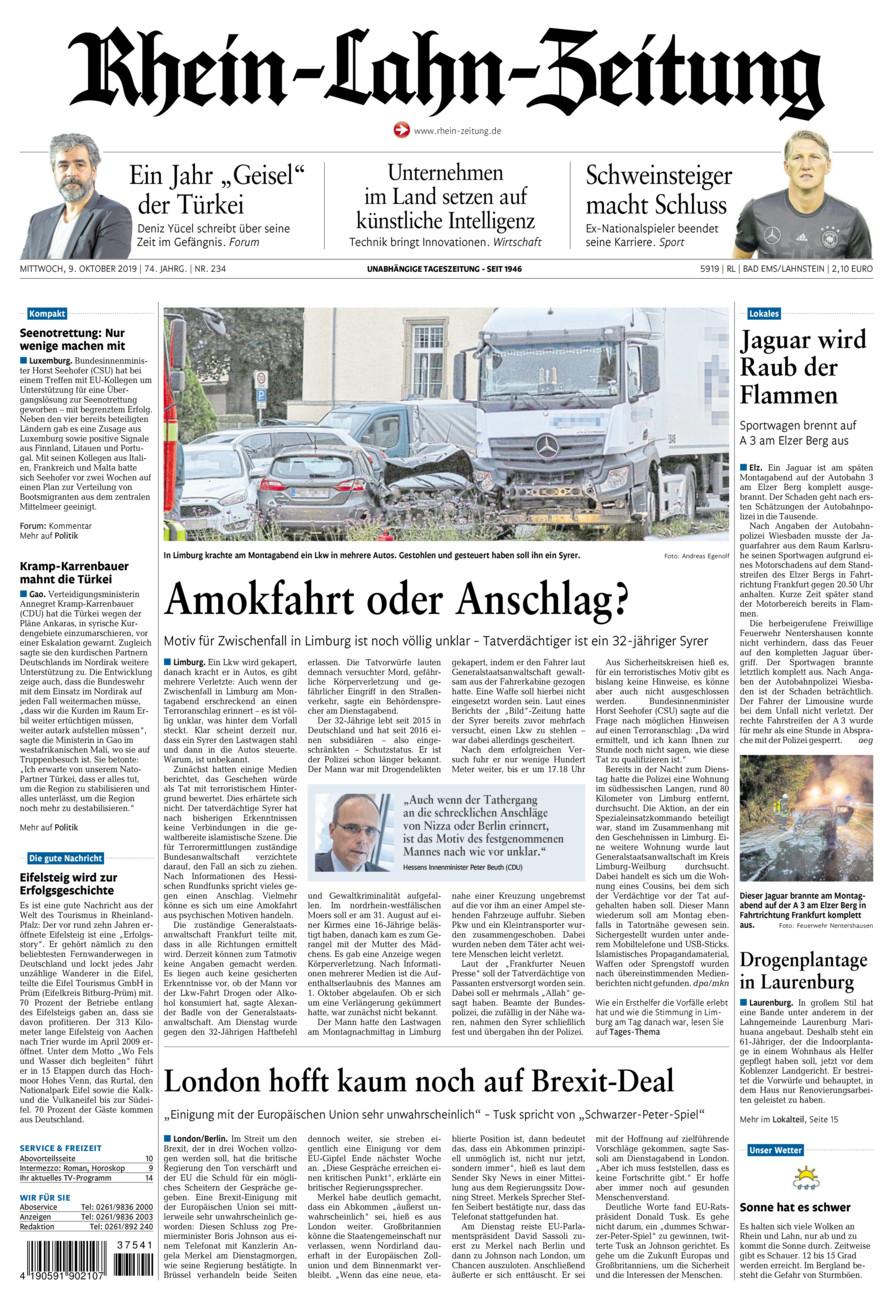 Rhein-Lahn-Zeitung Bad Ems vom Mittwoch, 09.10.2019