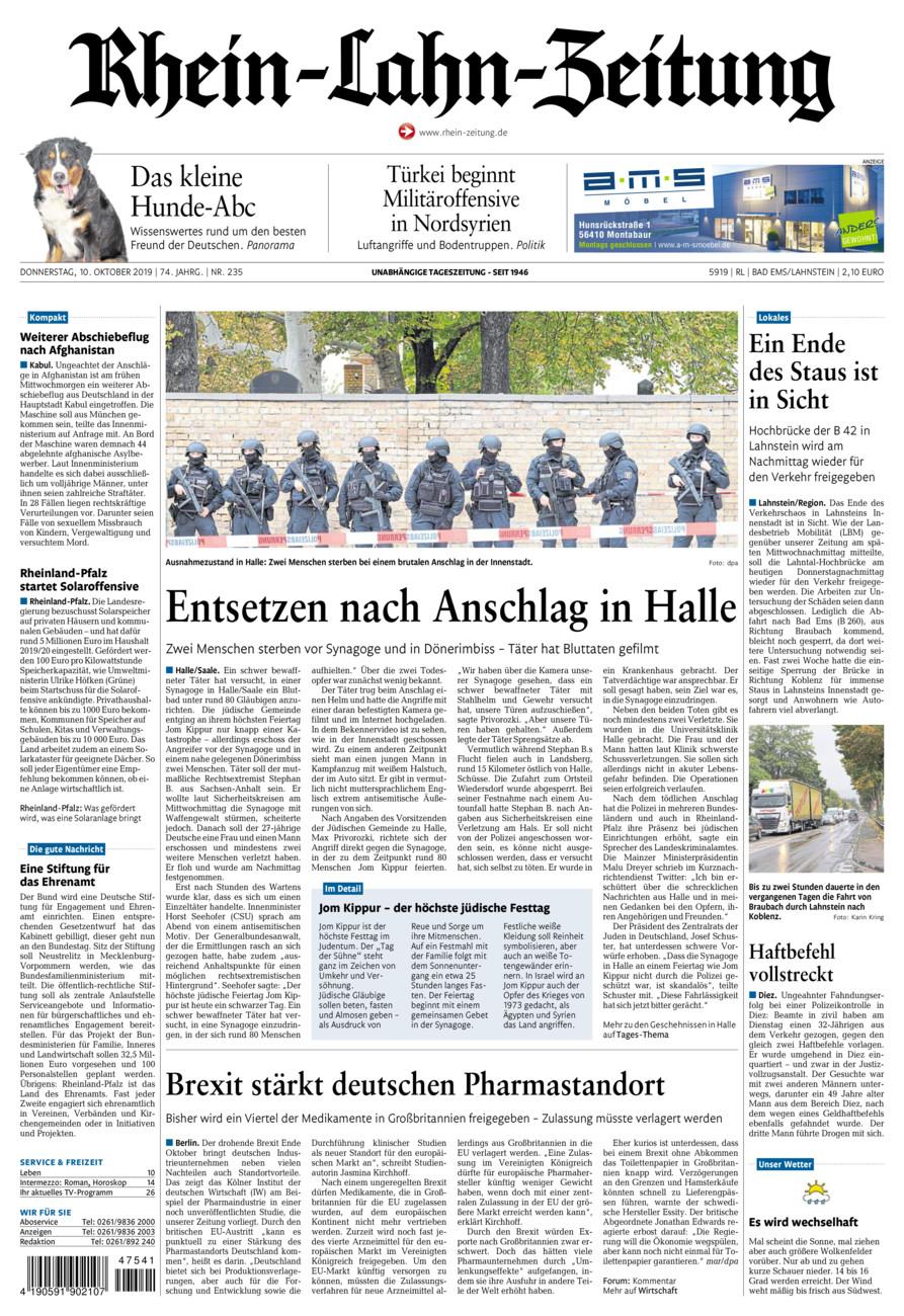 Rhein-Lahn-Zeitung Bad Ems vom Donnerstag, 10.10.2019