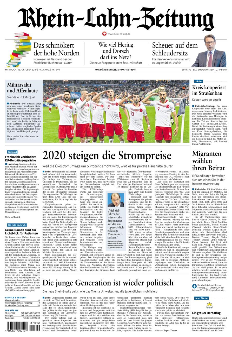 Rhein-Lahn-Zeitung Bad Ems vom Mittwoch, 16.10.2019
