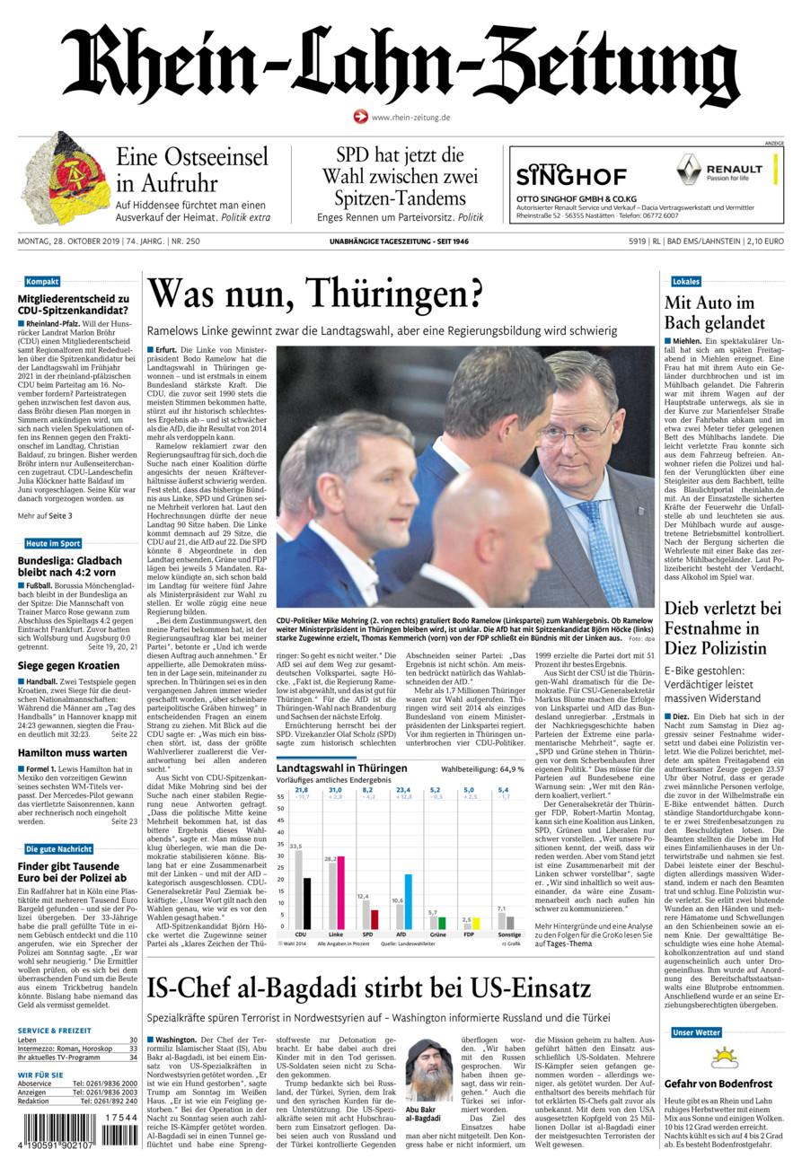 Rhein-Lahn-Zeitung Bad Ems vom Montag, 28.10.2019