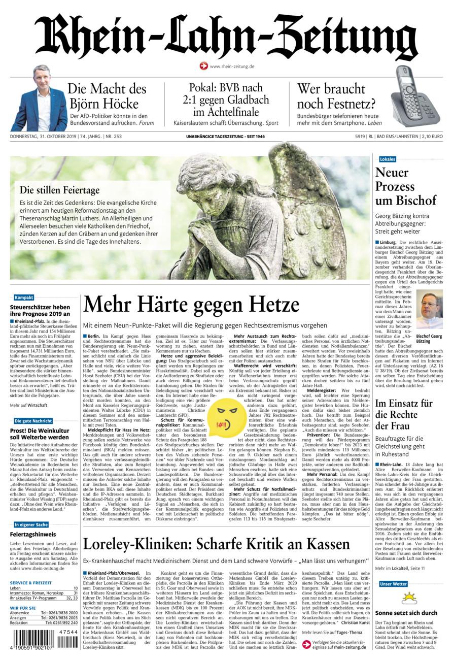 Rhein-Lahn-Zeitung Bad Ems vom Donnerstag, 31.10.2019