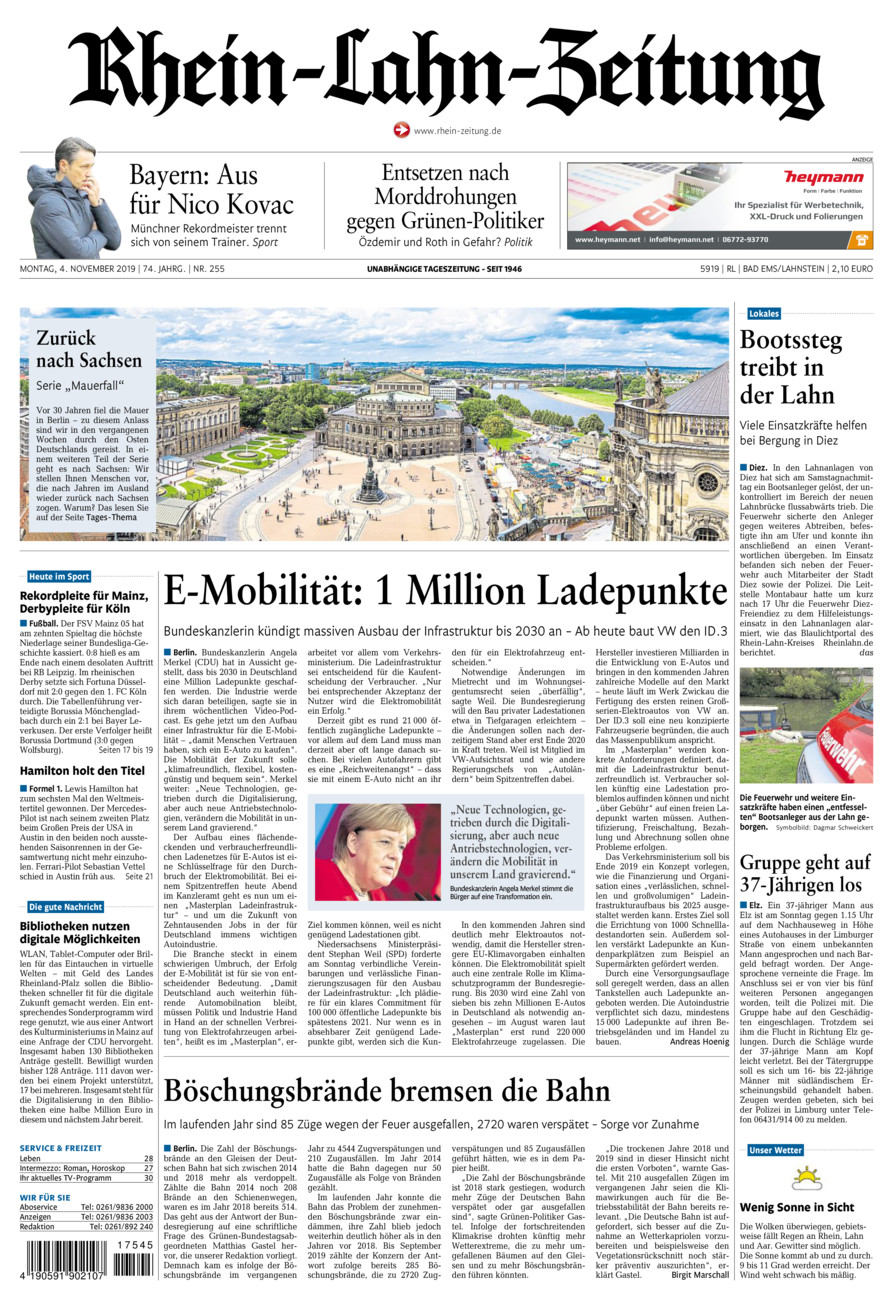 Rhein-Lahn-Zeitung Bad Ems vom Montag, 04.11.2019