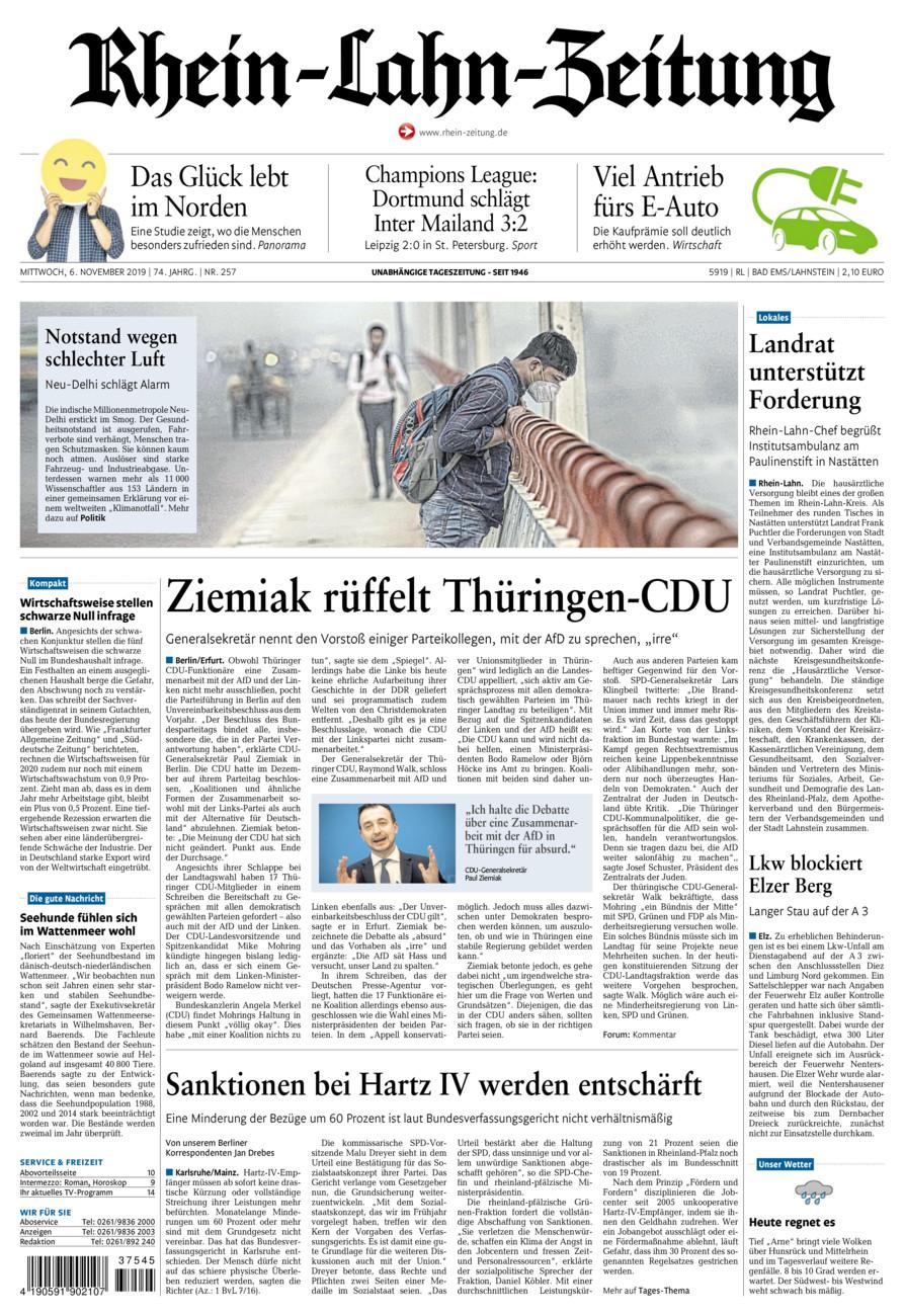 Rhein-Lahn-Zeitung Bad Ems vom Mittwoch, 06.11.2019